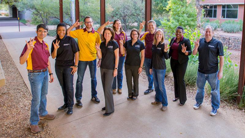 Fulton Schools faculty pose in ASU attire.