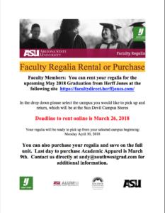 Spring 2018 Graduation Regalia flier