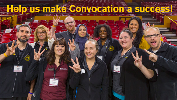 """A photo of a group of staff members posing at Convocation with the text"""" Help us make Convocation a success!"""""""
