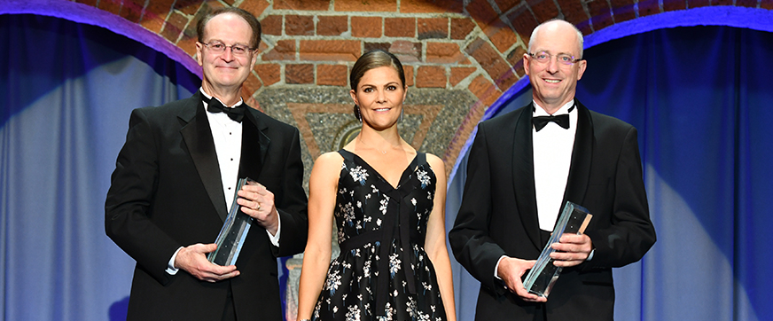 ASU Regents' Professor Bruce Rittmann, Crown Princess Victoria of Sweden and Professor Mark van Loosdrecht are presented with the 2018 Stockholm Water Prize.