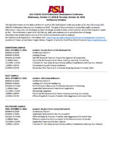 ASU CSW/SC Professional Development Conference fall 2018 schedule