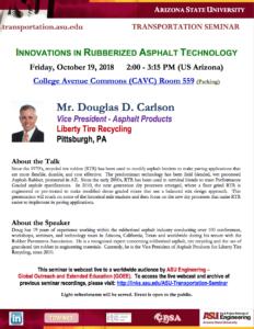 Douglas D. Carlson Innovations in Rubberized Asphalt Technology seminar flier