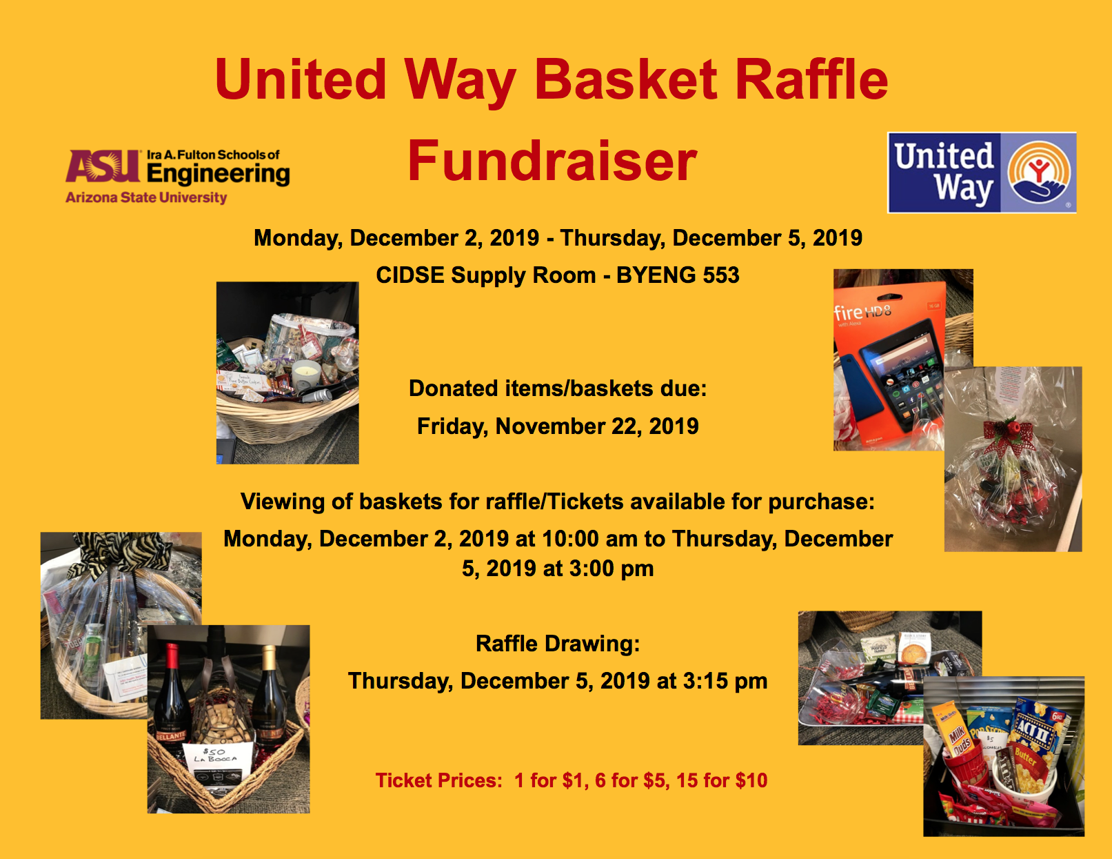 United Way Basket Raffle Fundraiser flyer