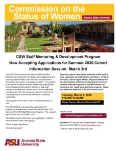 CSW Staff Mentoring and Development Program Summer 2020