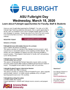 ASU Fulbright Day 2020 flyer