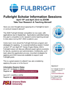 Fulbright info sessions.